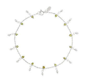 "Sterling 9"" 1.40 ct tw Peridot Bead Station Ankle Bracelet - J336429"