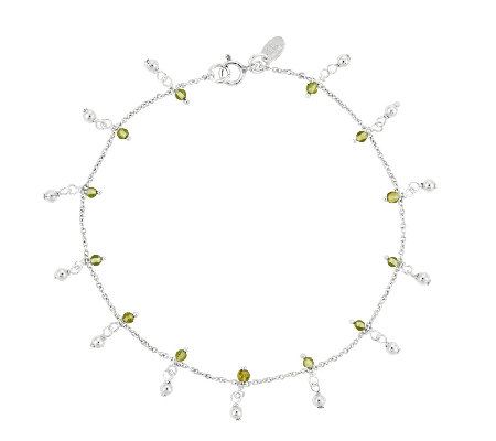 "Sterling 9"" 1.40 ct tw Peridot Bead Station Ankle Bracelet"