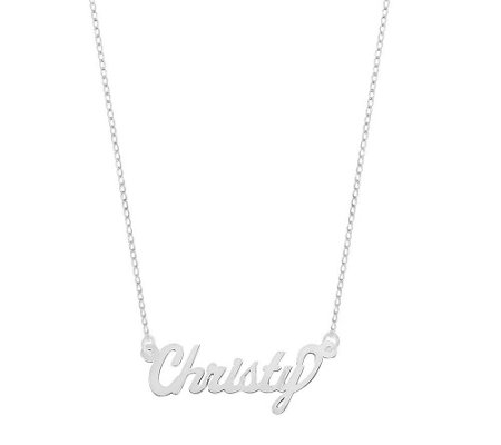 "Polished 18"" Personalized Name Plate Necklace,14K"