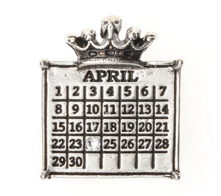 Personalized Silvertone Calendar Crown Pendant