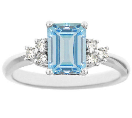 Premier Emerald-Cut 1.20cttw Aquamarine & Diamond Ring, 14K