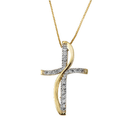 Adi Paz Crystal Cross Pendant with Chain, 14K Gold