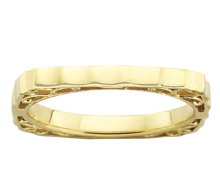Simply Stacks Sterling & 18K Gold Plated Scalloped Square Ring