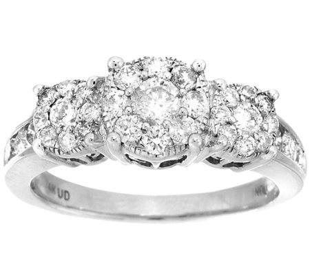 3-Stone Cluster Design Diamond Ring, 14K, 1cttw by Affinity