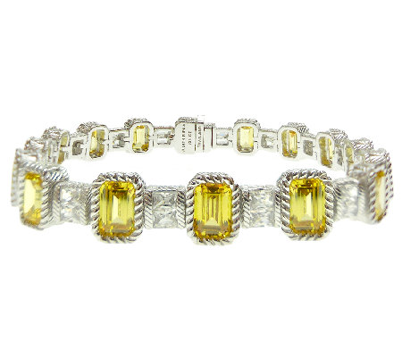 "Judith Ripka Sterling 7-1/2"" Yellow Diamonique Tennis Bracelet"