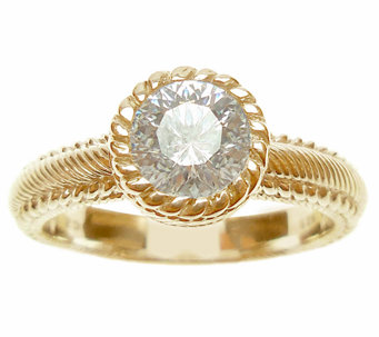 Judith Ripka Sterling/14K Clad Diamonique Solit aire Ring - J339829