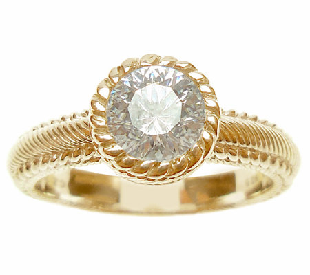 Judith Ripka Sterling/14K Clad Diamonique Solit aire Ring