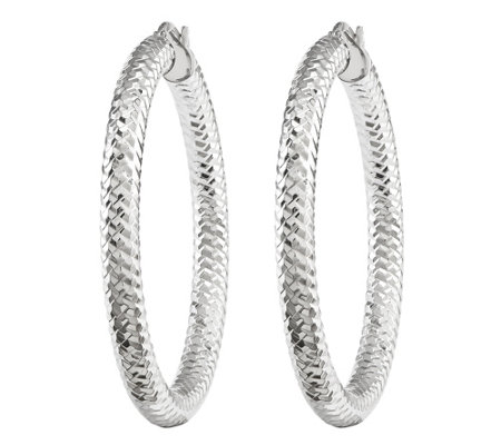Chevron Patterned Medium Tube Earrings, 14K