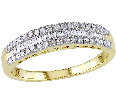 Baguette & Round Diamond Ring, 14K Yellow Gold,by Affinity