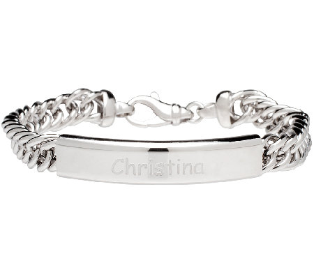 Vicenza Silver Sterling Personalized ID Bracelet
