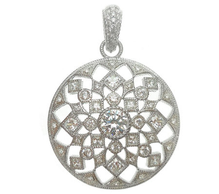 Judith Ripka Round Sterling Diamonique Pendant