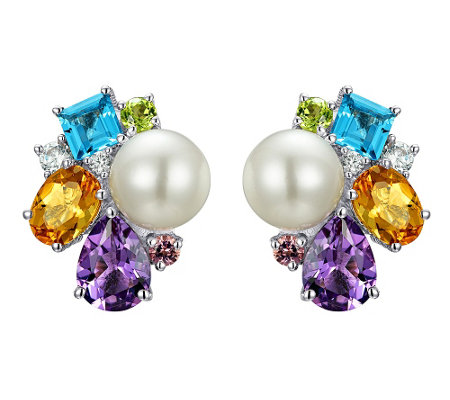 Judith Ripka Sterling Multi-Gem & Cultured Pearl Earrings