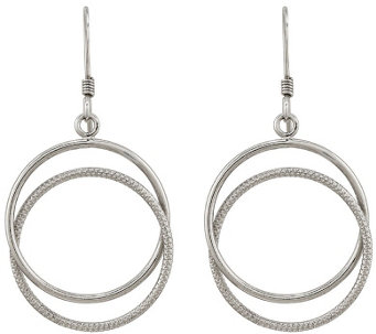 Sterling Silver Double Circle Dangle Earrings by Silver Style - J342129