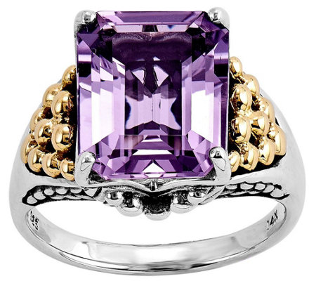 Sterling and 14K Gold 4.00 ct Rectangular Amethyst Ring