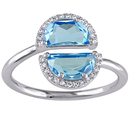 2.35 cttw Blue Topaz & Diamond Accent Ring, 1 4K White Gold