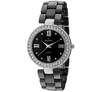 Peugeot Women's Silvertone Black Ceramic Watch - J344629