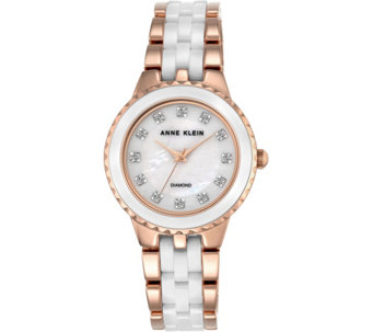 Anne Klein Women's Rosetone White Ceramic Watch - J344729
