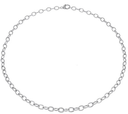 "Judith Ripka Verona Sterling Oval Link 24"" Necklace 18.0g"