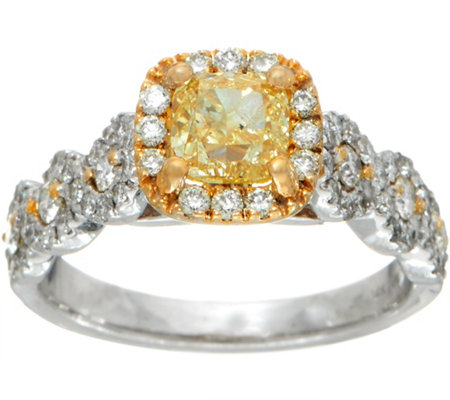 yellow and white diamond ring 14k 165 cttw by affinity - Qvc Wedding Rings