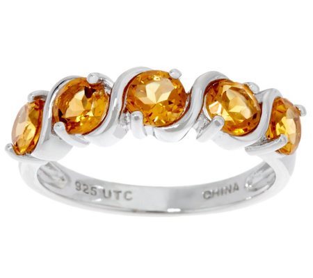 1.00 cttw 5 Stone Gemstone Ring Sterling