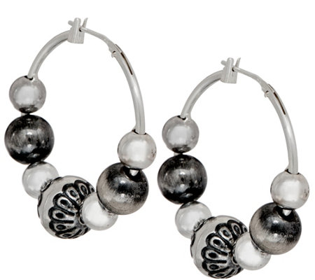 "American West Sterling Silver Multi-Bead 1-1/4"" Hoop Earrings"