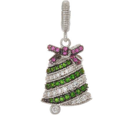 Judith Ripka Sterling Silver Gemstone & Diamonique Bell Charm