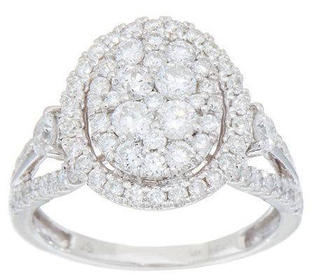 1.50 cttw Oval Cluster Design Diamond Ring, 14K Gold, by Affinity