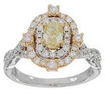 Natural Yellow & White Diamond Oval Ring, 14K, 1.25 cttw, by Affinity - J352129