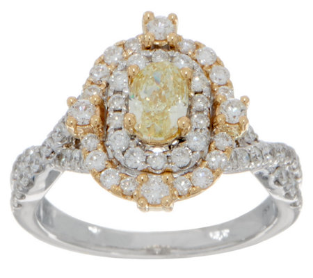 Natural Yellow & White Diamond Oval Ring, 14K, 1.25 cttw, by Affinity