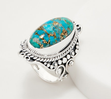 Artisan Crafted Sterling Silver Elongated Mojave Turquoise Ring