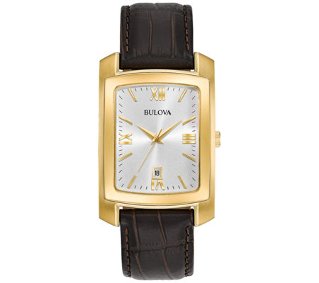 Bulova Men's Classic Goldtone Watch with BrownLeather Strap