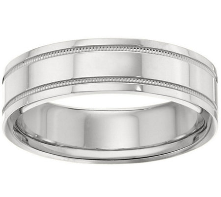 Men's 14K White Gold 6mm Double Milgrain Wedding Band