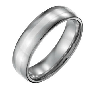 forza mens 6mm steel w sterling silver inlaypolished ring j109530 - Black And Silver Wedding Rings
