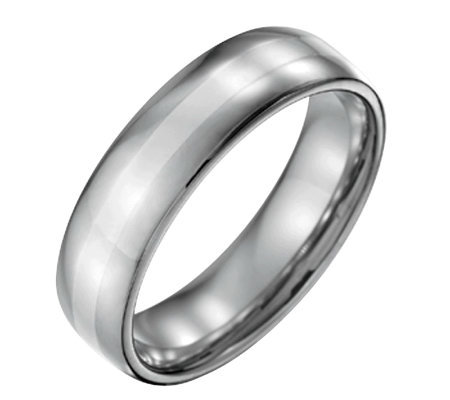 Forza Men's 6mm Steel w/ Sterling Silver InlayPolished Ring