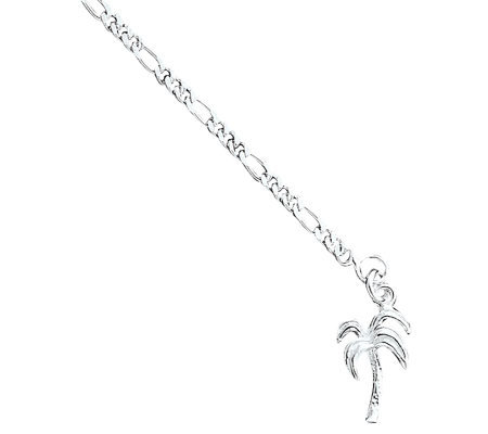 "Sterling 10"" Solid Polished Palm Tree Anklet"