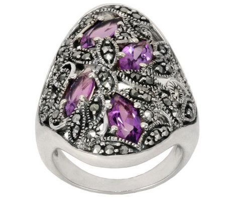Suspicion Sterling Marcasite and Amethyst Ring