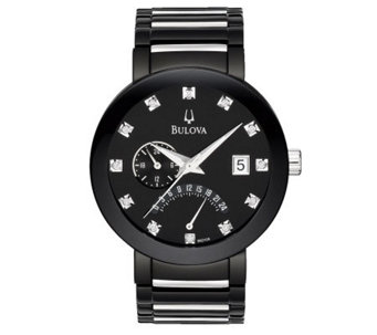 Bulova Men's Diamond-Accented Black Dial Bracelet Watch - J112930