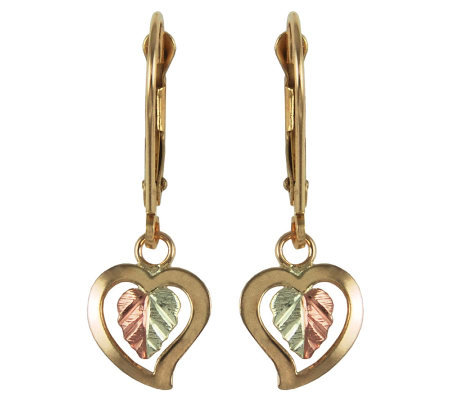 Black Hills Dangling Hearts Lever Back Earrings , 10K/12K Gold