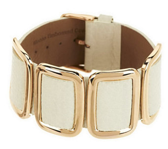 Bronze Average Leather Station Buckle Bracelet by Bronzo Italia - J279830