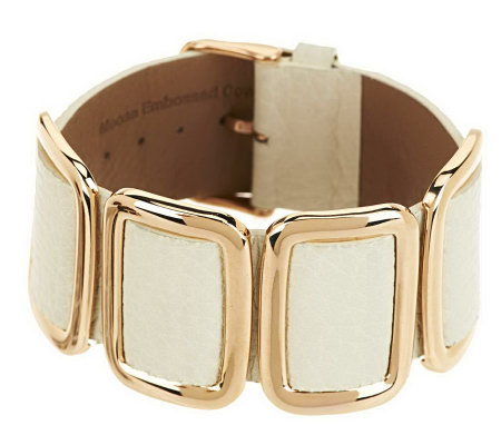 Bronze Average Leather Station Buckle Bracelet by Bronzo Italia