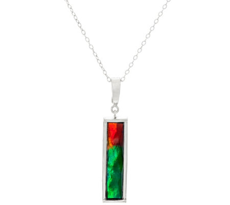 Ammolite Triplet Elongated Sterling Pendant w/Chain