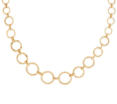 "14K Gold 18"" Graduated Circle Link Design Necklace, 6.2g"