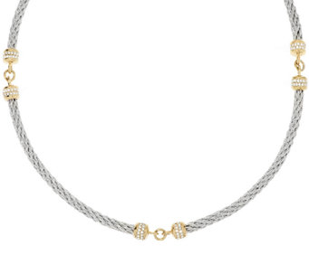 Stainless Steel Cable and Crystal Station Necklace - J289730