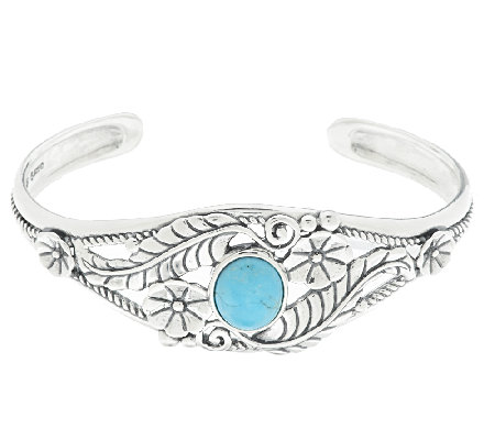 American West Sterling Turquoise Leaf & Flower Cuff
