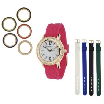 Isaac Mizrahi Live! Interchangeable Quilted Silicone Watch