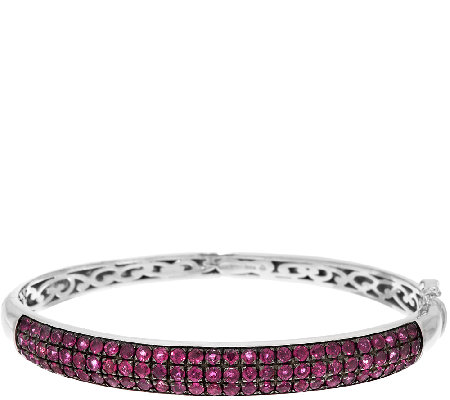 3.80 ct tw Pave' Thai Ruby Sterling Hinged Bangle