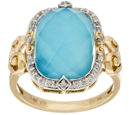 14K Gold Sleeping Beauty Turquoise Doublet and Diamond Ring Page