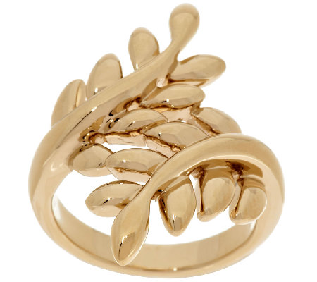 14K Gold Polished Leaf Design Bypass Ring