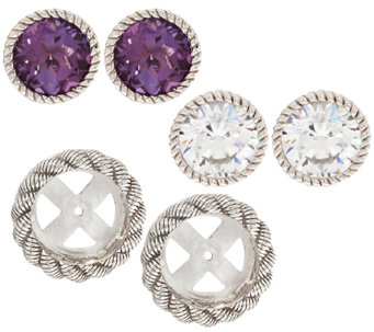 Judith Ripka Sterling 2 Sets of Stud Earrings with Jacket Set - J295830