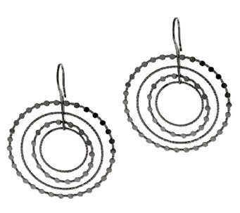 "Vicenza Silver Sterling 2-1/4"" Cascading Diamond Cut Circle Earrings - J296230"